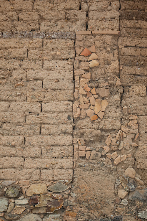 """""""Wall 4"""" - This old brick and rock wall was photographed in the small mountain town of San Sebastian, Mexico."""