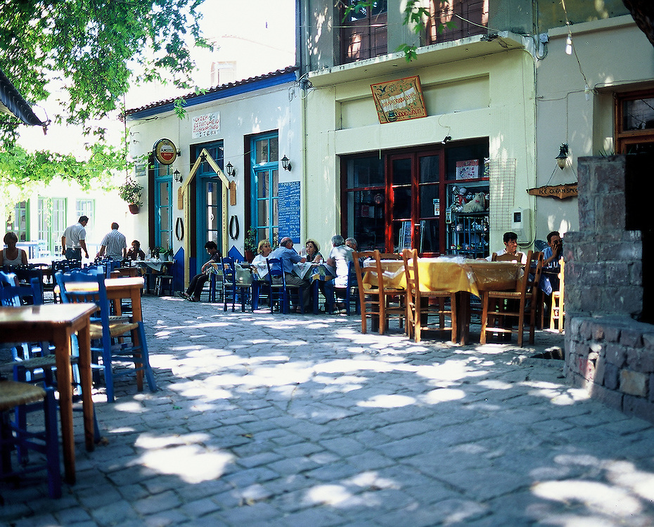 Street cafe in Agiassos on the Island of Lesvos, Greece.