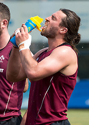 April 2, 2018 - Hong Kong, Hong Kong SAR, CHINA - HONG KONG,HONG KONG SAR,CHINA:April 2nd 2018. The Irish rugby team conduct a training session at Kings Park ahead of their Hong Kong Rugby 7's qualifiers. 7's veteran, Harry McNulty cools off in the Hong Kong heat (Credit Image: © Jayne Russell via ZUMA Wire)