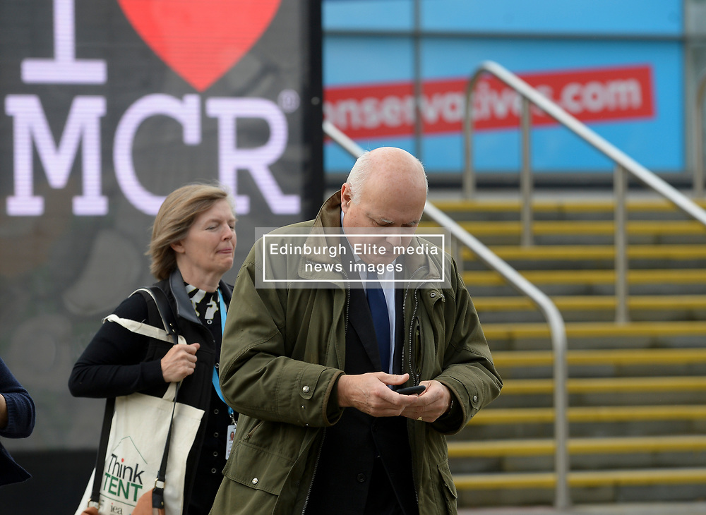Former party leader and former Work and Pensions Secretary Iain Duncan Smith at the Conservative Party conference in Manchester.<br /> <br /> © Dave Johnston / EEm