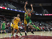 Feb 21, 2019; Los Angeles, CA, USA; Southern California Trojans guard Jonah Mathews (2) is defended by Southern California Trojans forward Bennie Boatwright (25) and forward Nick Rakocevic (31)  in the first half  at Galen Center. USC defeated Oregon 66-49.