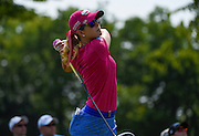 Jul 12, 2015; Lancaster, PA, USA; Paula Creamer tees off the ninth hole during the final round of the U.S. Women's Open at Lancaster Country Club.