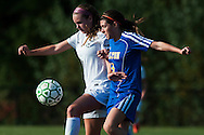 Rice's Haley Mitiguy (1) and Milton's Carlie Reen (5) battle for the ball during the girls soccer game between the Milton Yellowjackets and the Rice Green Knights at Rice Memorial High School on Saturday afternoon October 3, 2015 in South Burlington. (BRIAN JENKINS/ for the FREE PRESS)