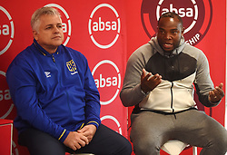 Cape Town-180913- .Cape Town City FC head coach Benni McCarthy being interviewed by psl head of communications Lux September about the upcoming game against Kaizer Chiefs,next to him is team chairman John Comitis .This was during the Woza nazo Absa premiership press conference at the Raddison Red in Waterfront.Photographs:Phando Jikelo/African News Agency/ANA