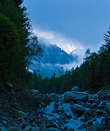 Early morning lighting along a drainage from the glacier that sits below Mt Blanc near Chamonix.