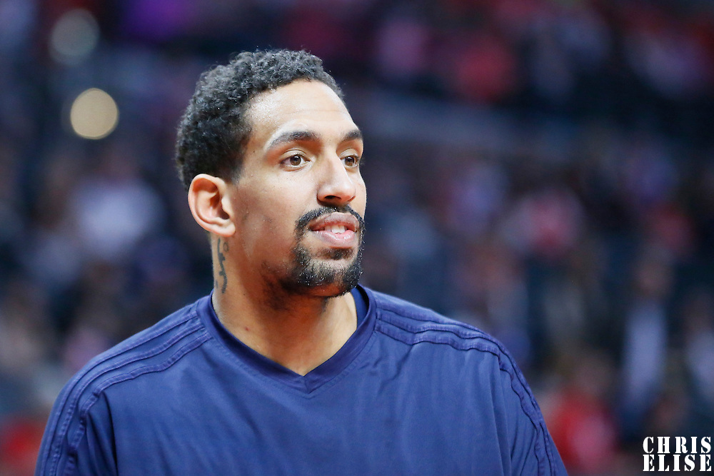10 January 2016: New Orleans Pelicans center Alexis Ajinca (42) warms up prior to the Los Angeles Clippers 114-111 overtime victory over the New Orleans Pelicans, at the Staples Center, Los Angeles, California, USA.