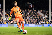 Blackburn Rovers goalkeeper Jason Steele (1) during the EFL Sky Bet Championship match between Fulham and Blackburn Rovers at Craven Cottage, London, England on 14 March 2017. Photo by Sebastian Frej.