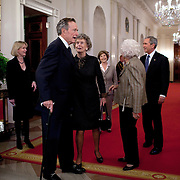 Pres. Bush and his father, former President George H.W. Bush attend the Thousand Points of Light event in the East room Wednesday, January 7, 2009.  Also attending are Nancy Ellis, George HW Bush's sister, and Barbara Bush, his wife...Photo by Khue Bui