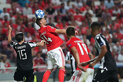 August 21, 2018 - Lisbon, Portugal - Benfica's Suisse forward Haris Seferovic vies with PAOK's defender Jose Angel Crespo from Spain during the UEFA Champions League play-off first leg match SL Benfica vs PAOK FC at the Luz Stadium in Lisbon, Portugal on August 21, 2018. (Credit Image: © Pedro Fiuza via ZUMA Wire)