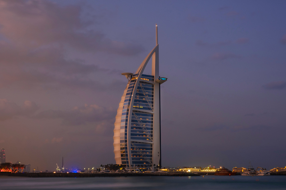 UNITED ARAB EMIRATES, DUBAI - CIRCA JANUARY 2017:  Burj Al Arab at dawn, the only 7 star hotel in the world.
