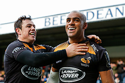 Wasps Winger Tom Varndell (right) celebrates with Full Back Rob Miller after scoring a try - Photo mandatory by-line: Rogan Thomson/JMP - 07966 386802 - 14/12/2014 - SPORT - RUGBY UNION - High Wycombe, England - Adams Park Stadium - Wasps v Castres Olympique - European Rugby Champions Cup Pool 2.