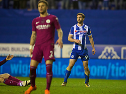 WIGAN, ENGLAND - Monday, February 19, 2018: Wigan Athletic's Will Grigg celebrates scoring the winning goal during 1-0 victory in the FA Cup 5th Round match between Wigan Athletic FC and Manchester City FC at the DW Stadium. (Pic by David Rawcliffe/Propaganda)