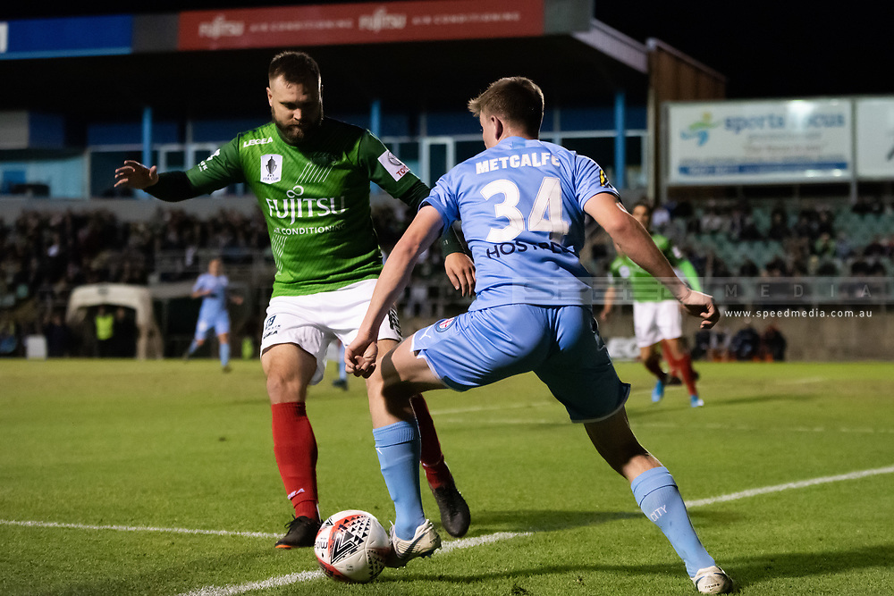 SYDNEY, AUSTRALIA - AUGUST 21: Melbourne City player Connor Metcalfe (34) tries to keep the ball in play during the FFA Cup round of 16 soccer match between Marconi Stallions FC and Melbourne City FC on August 21, 2019 at Marconi Stadium in Sydney, Australia. (Photo by Speed Media/Icon Sportswire)
