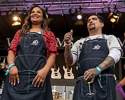 May 25, 2018 - Napa, California, U.S - Celebrity chefs LAILA ALI and AARON SANCHEZ  during BottleRock Music Festival at Napa Valley Expo in Napa, California (Credit Image: © Daniel DeSlover via ZUMA Wire)