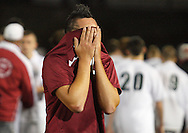 Fort Ann's Kevin Carpenter reacts after losing 2-1 to Chazy in the Class D state semifinals at Faller Field in Middletown on Saturday. Nov. 16, 2013. (Tom Bushey – Special to The Post-Star)