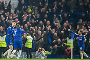 Jorginho (Chelsea) & N'Golo Kante (Chelsea) run to celebrate the 2nd goal from Eden Hazard (Chelsea) during the Premier League match between Chelsea and West Ham United at Stamford Bridge, London, England on 8 April 2019.