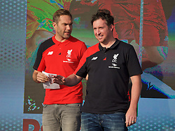 LIVERPOOL, ENGLAND - Monday, May 9, 2016: Liverpool's Robbie Fowler and Jason McAteer at the launch of the New Balance 2016/17 Liverpool FC kit at a live event in front of supporters at the Royal Liver Building on Liverpool's historic World Heritage waterfront. (Pic by David Rawcliffe/Propaganda)