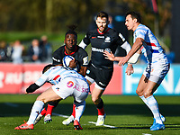 Rugby Union - 2019 / 2020 European Rugby Heineken Champions Cup - Pool Four: Saracens vs. Racing 92<br /> <br /> Saracens' Rotomi Segun is tackled by Racing 92's Brice Dulin, at Allianz Park.<br /> <br /> COLORSPORT/ASHLEY WESTERN