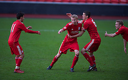 LIVERPOOL, ENGLAND - Saturday, January 8, 2011: Liverpool's Kristjan Emilsson celebrates scoring the second goal against Crystal Palace during the FA Youth Cup 4th Round match at Anfield. (Pic by: David Rawcliffe/Propaganda)