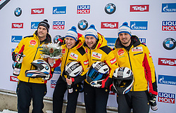 19.01.2020, Olympia Eiskanal, Innsbruck, AUT, BMW IBSF Weltcup Bob und Skeleton, Igls, Bob Viersitzer, Herren, Siegerehrung, im Bild zweiter Platz Pilot Johannes Lochner mit Florian Bauer, Marc Rademacher, Christian Rasp (GER) // second Placed Pilot Johannes Lochner with Florian Bauer Marc Rademacher Christian Rasp of Germany during the winner ceremony for the four-man Bobsleigh competition of BMW IBSF World Cup at the Olympia Eiskanal in Innsbruck, Austria on 2020/01/19. EXPA Pictures © 2020, PhotoCredit: EXPA/ Peter Rinderer