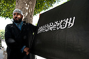 Salafist demonstrates outside a court during court case against the Televison channel Nessma TV that  broadcasted a film that was allegedly defamatory.<br />