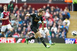 BIRMINGHAM, ENGLAND - Easter Sunday, March 31, 2013: Liverpool's Jordan Henderson scores the first goal against Aston Villa during the Premiership match at Villa Park. (Pic by David Rawcliffe/Propaganda)