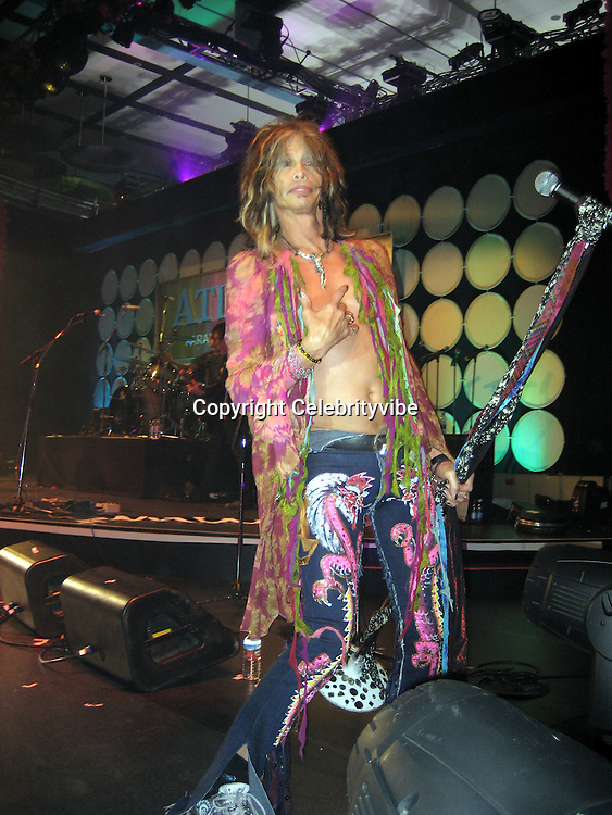 **EXCLUSIVE**.Steven Tyler.Silly 70's Party with performances by Aerosmith, Earth Wind, Fire & Village People & Stevie Wonder.Opening of Cain at The Cove Hotel.Grand Ballroom.Atlantis Hotel.Paradise Island, Bahamas.Saturday, May 12, 2007 .Photo By Celebrityvibe.To license this image please call (212) 410 5354; or.Email: celebrityvibe@gmail.com ;.