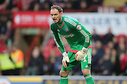 Brentford goalkeeper David Button during the Sky Bet Championship match between Brentford and Brighton and Hove Albion at Griffin Park, London, England on 26 December 2015.