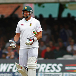 16/08/2012 London, England.  South Africa's Jacques Kallis is given out on umpires review during the third Investec cricket international test match between England and South Africa, played at the Lords Cricket Ground: Mandatory credit: Mitchell Gunn