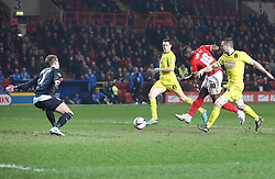Charlton Athletic's Marvin Sordell shoots wide with the best chance of the game - Photo mandatory by-line: Robin White/JMP - Tel: Mobile: 07966 386802 12/03/2014 - SPORT - FOOTBALL - The Valley - Charlton - Charlton Athletic v Huddersfield Town - Sky Bet Championship