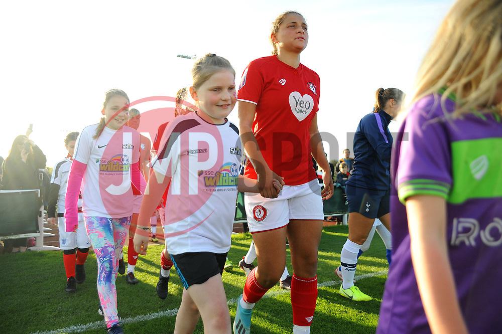 Mascot walkout- Mandatory by-line: Nizaam Jones/JMP - 27/10/2019 - FOOTBALL - Stoke Gifford Stadium - Bristol, England - Bristol City Women v Tottenham Hotspur Women - Barclays FA Women's Super League