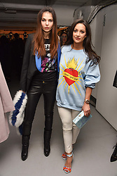 Left to right, Doina Ciobanu and Roxie Nafousi at the Charlotte Simone LFW Autumn Winter 2017 showcase, The Vinyl Factory, 51 Poland Street, London England. 17 February 2017.