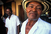 Costeno, or person from the coast of the Caribbean, in traditional hat, Cartagena, Colombia