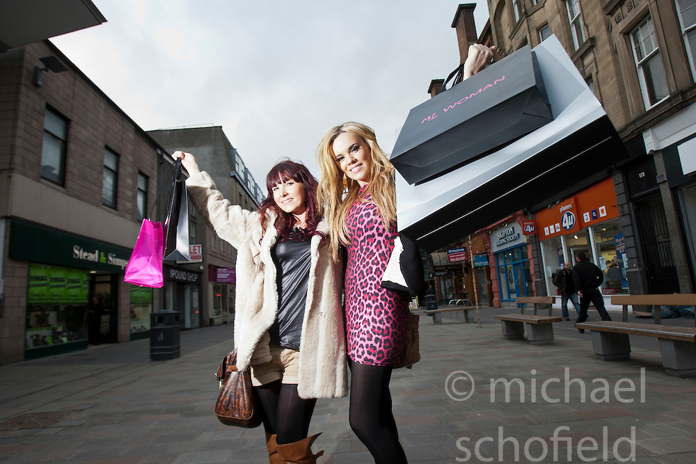 "Maria with Laura on the High Street..Filming of ""Ma Way"", Maria Fowler""s guide to Perth..© Michael Schofield."