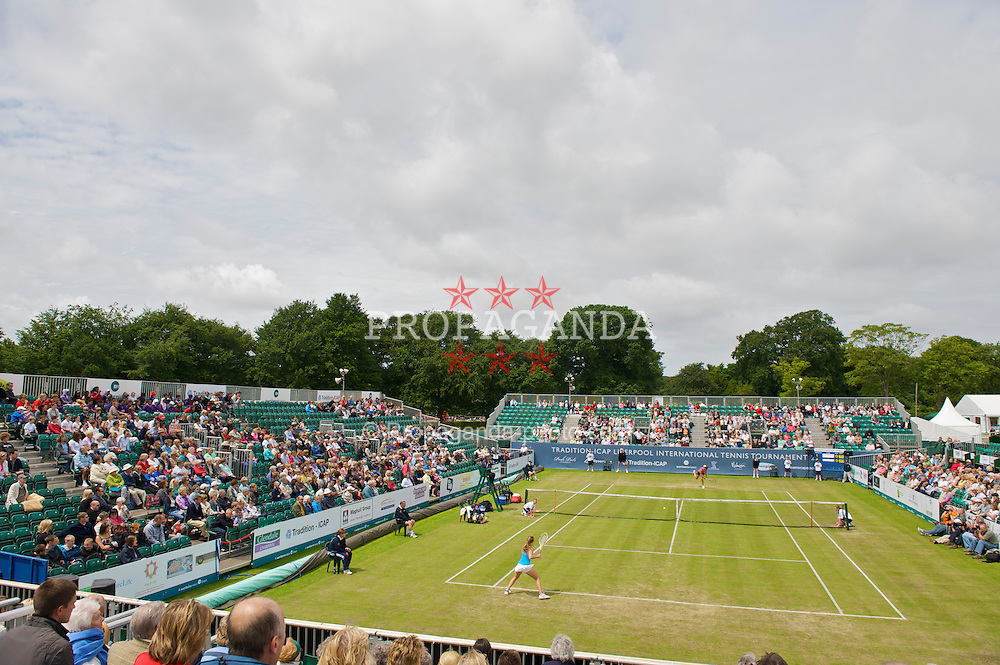 LIVERPOOL, ENGLAND - Friday, June 19, 2009: Michelle Larcher De Brito (POR) takes on Ajla Tomljanovic (CRO) during Day Three of the Tradition ICAP Liverpool International Tennis Tournament 2009 at Calderstones Park. (Pic by David Rawcliffe/Propaganda)