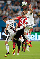 Real Madrid defender Nacho Fernandez (6) heads the ball as he battles Manchester United James Garner (37) in the second half during International Champions Cup action at Hard Rock Stadium in Miami Gardens, FL, USA on Tuesday, July 31, 2018. Manchester United won, 2-1. Photo by Al Diaz/Miami Herald/TNS/ABACAPRESS.COM