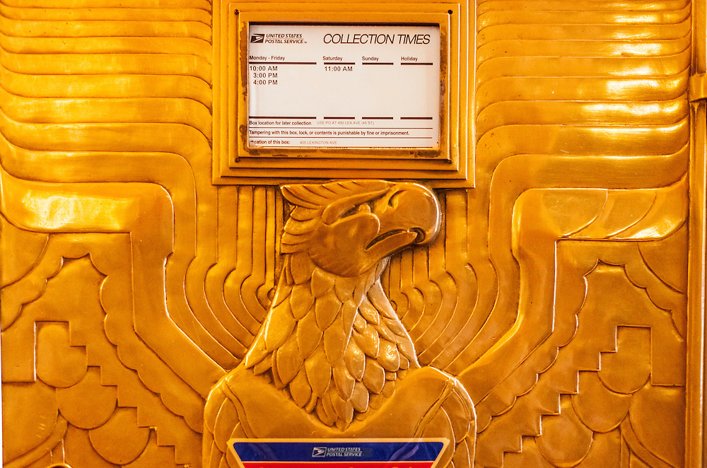 Detail of a splendid Art Deco mailbox in the Chrysler Building's main lobby