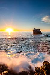 """Plaskett Rock at Sunset 3"" - Sunset photograph of a wave crashing at Plaskett Rock in Big Sur, California."