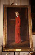 First Lady Nancy Reagan's portrait  at the unveiling of the Reagan's official portraits during the administration of H.W. Bush (Bush 41)..Photograph by Dennis Brack, BB 29
