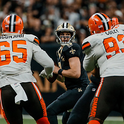 Sep 16, 2018; New Orleans, LA, USA; New Orleans Saints quarterback Drew Brees (9) looks to throw against the Cleveland Browns during the fourth quarter of a game at the Mercedes-Benz Superdome. The Saints defeated the Browns 21-18. Mandatory Credit: Derick E. Hingle-USA TODAY Sports