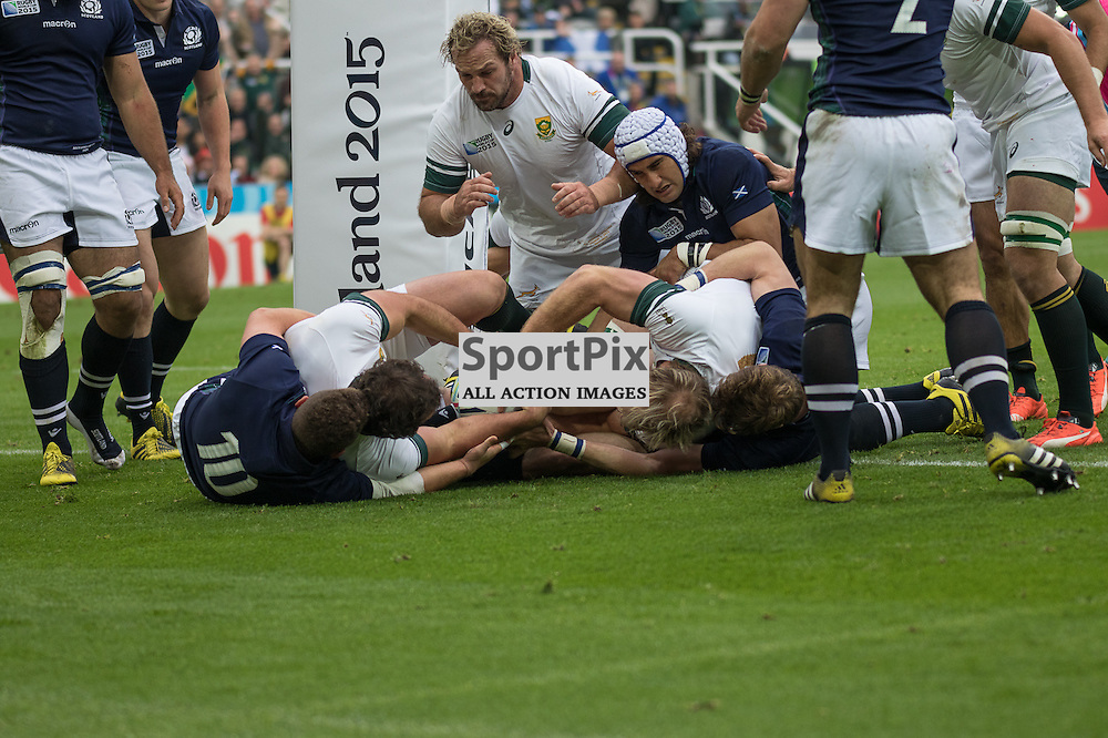South Africa players dive over the Scotland line to score the first try.  South Africa v Scotland, 3rd October 2015