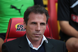 Watford's Manager, Gianfranco Zola  - Photo mandatory by-line: Nigel Pitts-Drake/JMP - Tel: Mobile: 07966 386802 25/08/2013 - SPORT - FOOTBALL -Vicarage Road Stadium - Watford -  Watford v Nottingham Forest - Sky Bet Championship