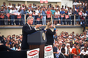President Bill Clinton addresses supporters during a campaign stop for his re-election August 27, 1996 in Toledo, Ohio.