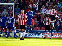 Photo: Alan Crowhurst.<br />Southampton v Cardiff City. Coca Cola Championship. 01/04/2006. Saints Claus Lundekvam (R) scores the opening goal of the macth.