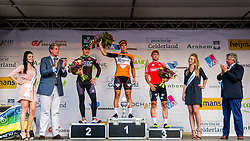 Podium with winner Dylan Groenewegen (NED,ROP) after the Arnhem - Veenendaal Classic at the finish, Veenendaal, Utrecht, The Netherlands, 21 August 2015.<br /> Photo: Thomas van Bracht / PelotonPhotos.com