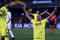 March 14, 2019 - Villarreal, Spain - Carlos Bacca (R)  of Villarreal CF celebrate after scoring the 2-0 goal with his teammate Mario Gaspar of Villarreal CF (L)  during UEFA Europa league match between Villarreal CF vs Zenit  at La Ceramica Stadium on March 14, 2019. (Credit Image: © Jose Miguel Fernandez/NurPhoto via ZUMA Press)
