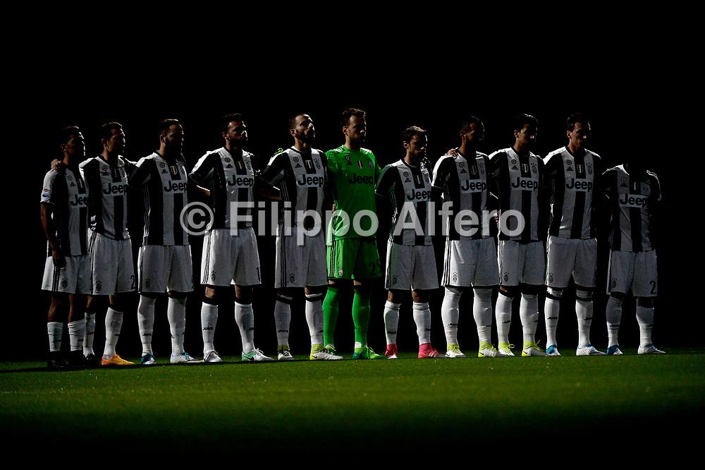 &copy; Filippo Alfero<br /> Juventus-Genoa, Serie A 2016/2017<br /> Torino, 23/04/2017<br /> sport calcio<br /> Nella foto: Minuto di raccoglimento per Michele Scarponi