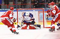 2020-02-12 | Ljungby, Sweden: Huddinge IK (1) Rasmus Hedström with a save during the game between IF Troja / Ljungby and Huddinge IK at Ljungby Arena ( Photo by: Fredrik Sten | Swe Press Photo )<br /> <br /> Keywords: Ljungby, Icehockey, HockeyEttan, Ljungby Arena, IF Troja / Ljungby, Huddinge IK, fsth200212, ATG HockeyEttan, Allettan
