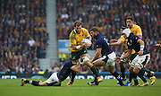 Australia's Ben McCalman trying to find a way through the Scottish defence during the Rugby World Cup Quarter Final match between Australia and Scotland at Twickenham, Richmond, United Kingdom on 18 October 2015. Photo by Matthew Redman.