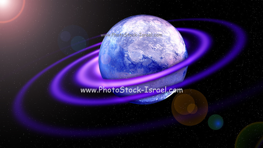 illustration of a alien planet in deep space with gaseous rings